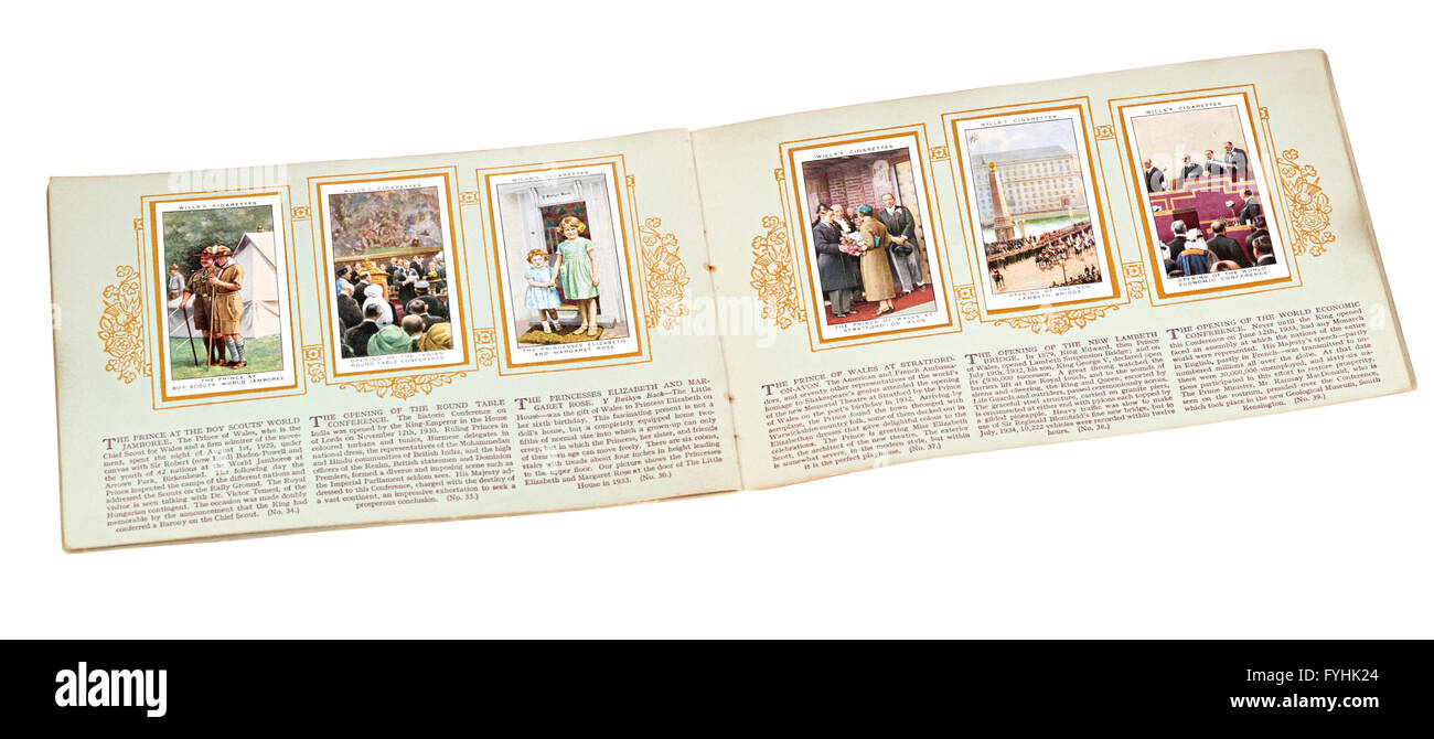 Wills cigarette card book of British monarchs including a young Princess Elizabeth as a child - Stock Image
