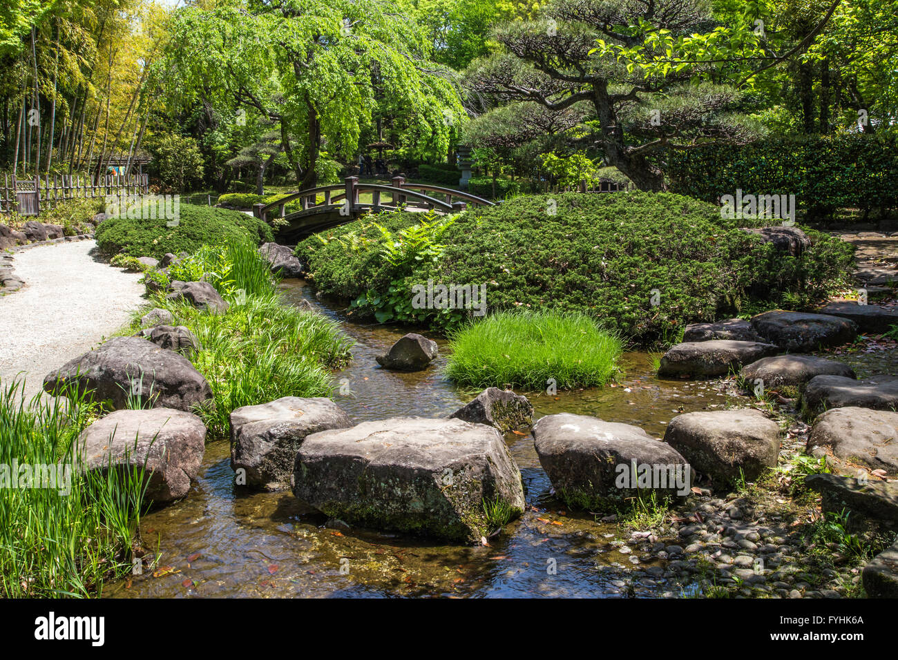 Hiratsuka Japanese Garden was built in 1989 as a strolling garden with excursion trails arranged around a pond. - Stock Image