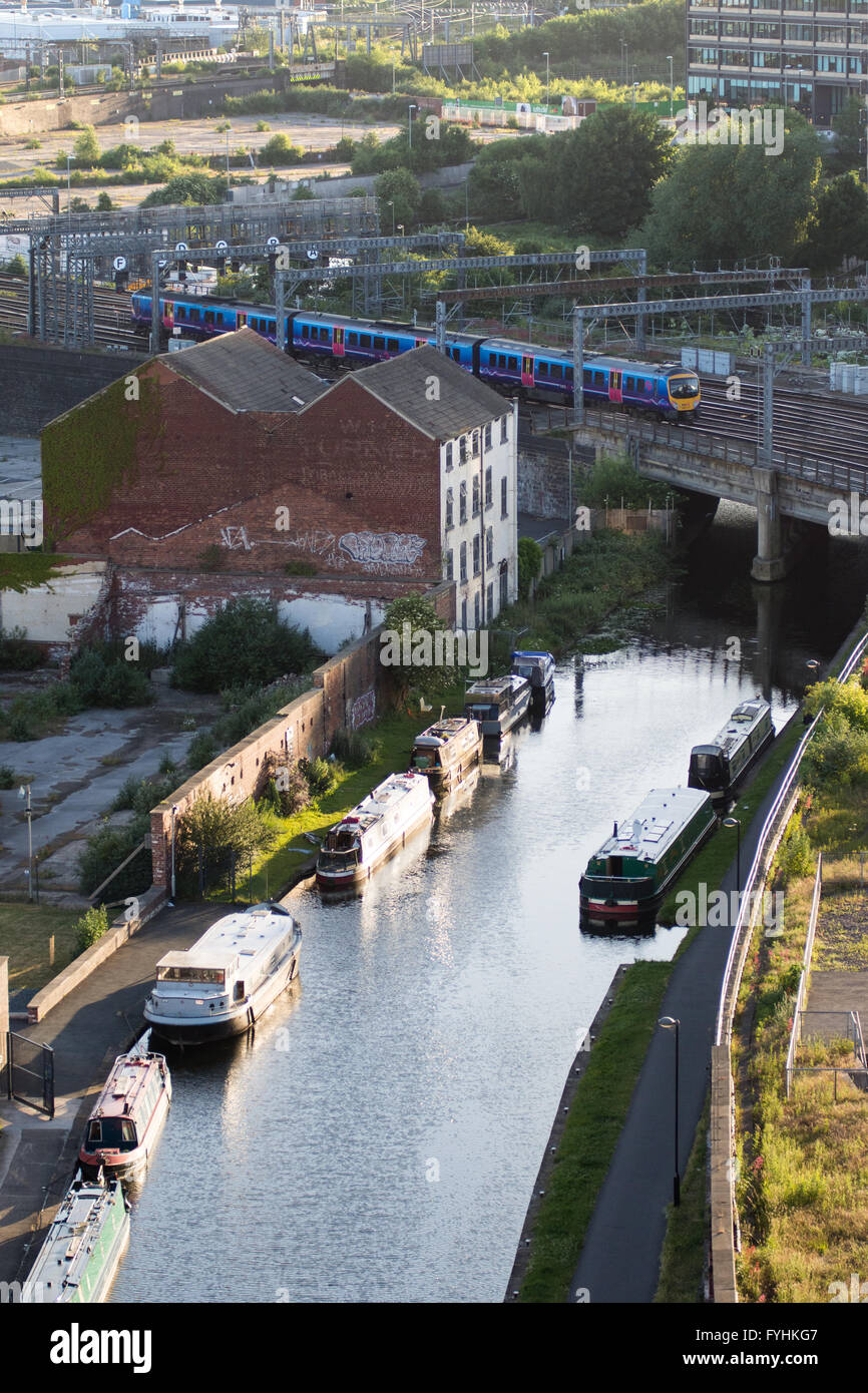 Leeds, England - June 28, 2015: A TransPennine Express Class 185 diesel multiple unit train crossing the Leeds and - Stock Image