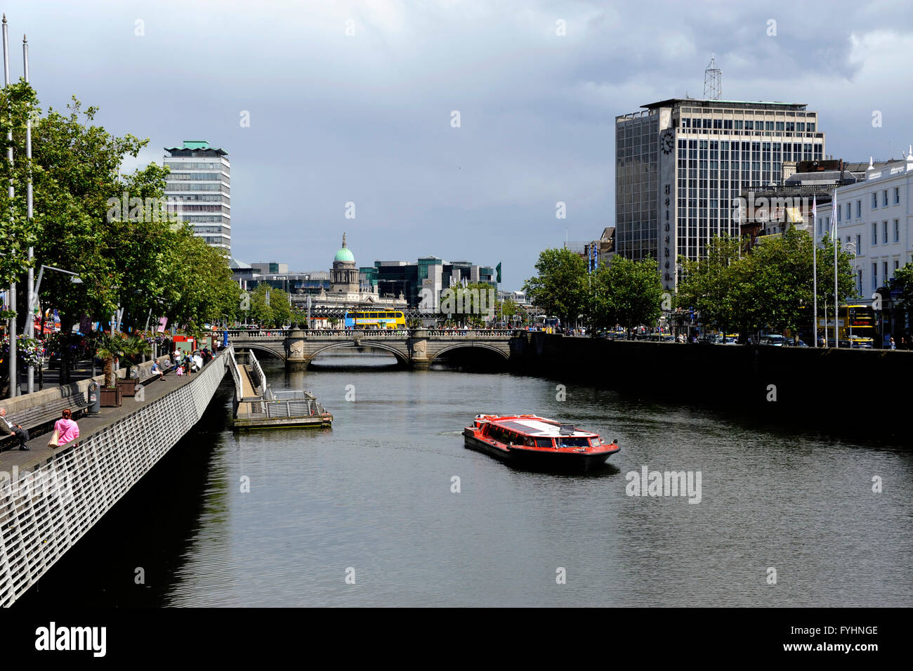 Boat tour on the Liffey river, O'Connell bridge and the Custom house, Dublin, Ireland Stock Photo