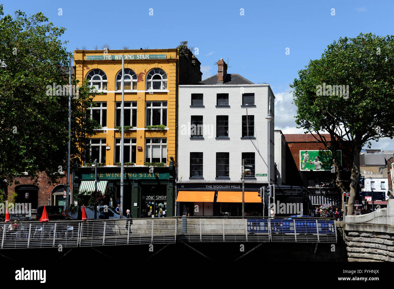 Liffey river,Ormond quay. lower, The Wining Stair book shop, Dublin, Ireland - Stock Image