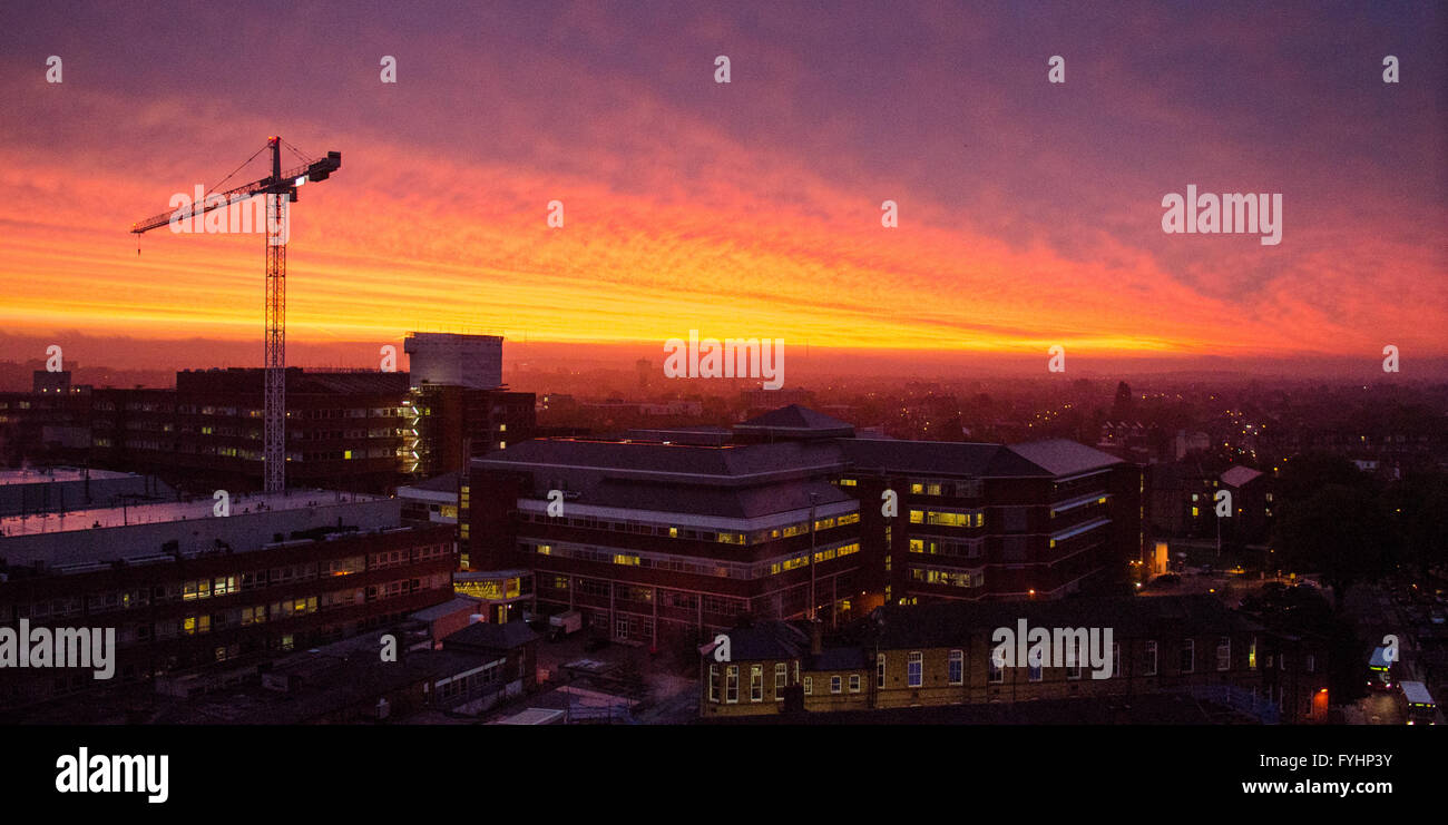 Sunrise over St George's Hospital, a major accident & emergency, trauma and teaching hospital in south London. Stock Photo
