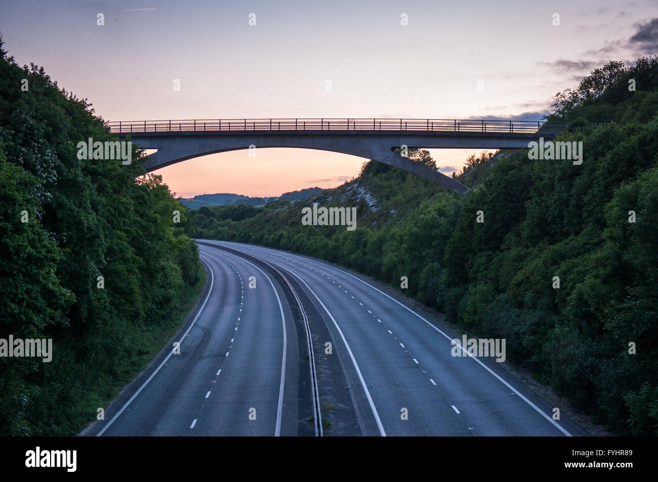 The A27 dual carriageway trunk road empty of traffic at Lewes in Sussex. - Stock Image