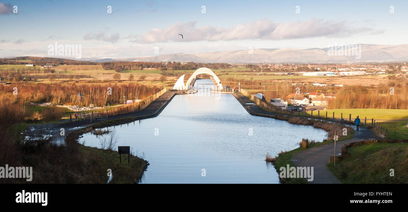 The junction of the Forth and Clyde Canal and the Union Canal at Falkirk. - Stock Image