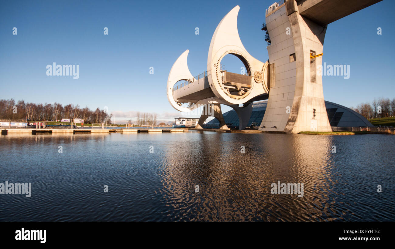 Falkirk, Scotland - January 22, 2012: The modern Falkirk Wheel boat lift on the Union Canal at Falkirk in Central - Stock Image