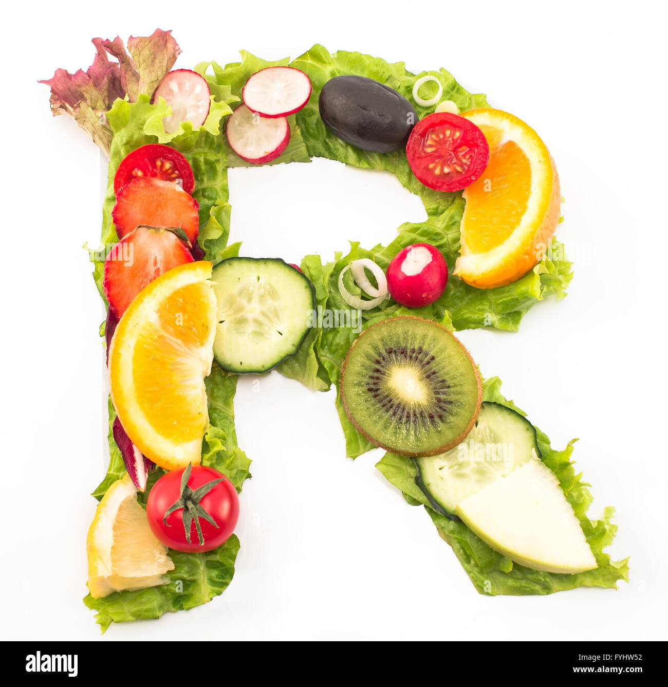 letter r made of salad and fruits stock photo 103040478 alamy