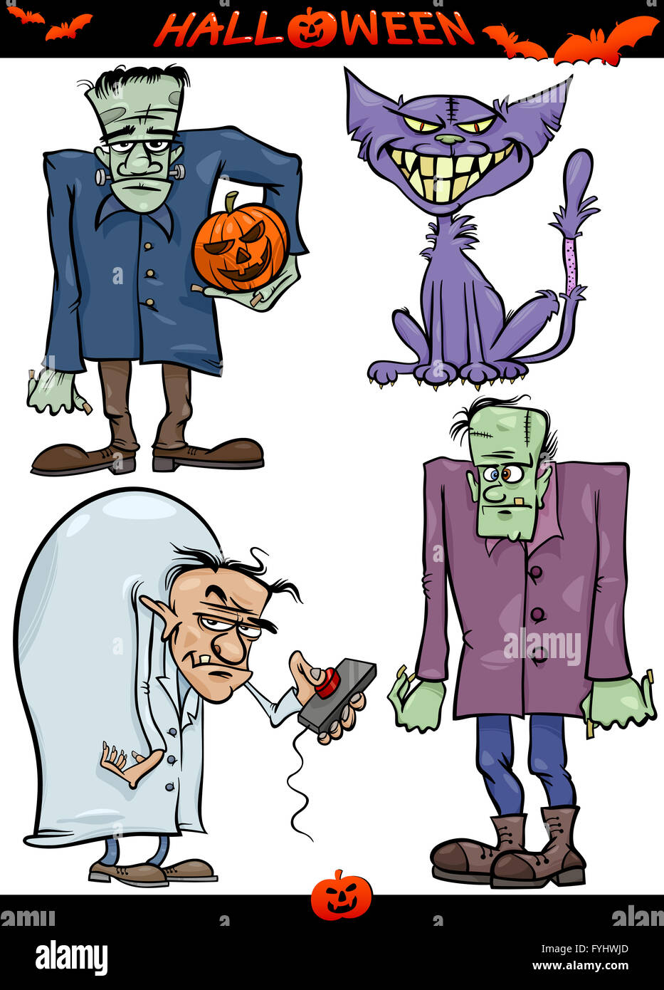 Halloween Cartoon Creepy Themes Set - Stock Image