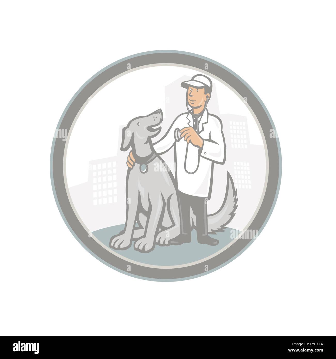Veterinarian Vet With Pet Dog Cartoon - Stock Image
