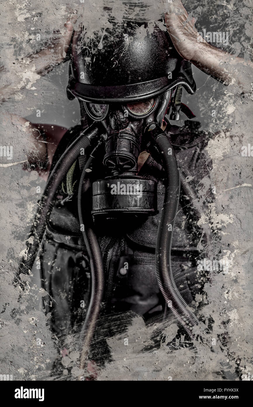 Dark Pollution, Man with gas black mask - Stock Image