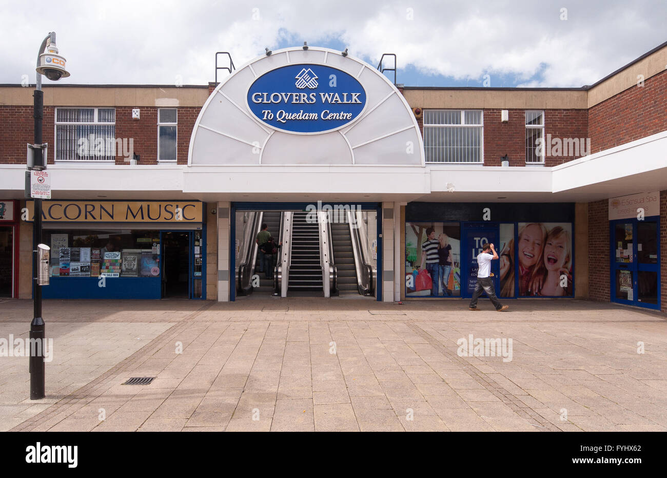An independent record store and empty shop units in Glover's Walk shopping precinct in Yeovil, Somerset. - Stock Image