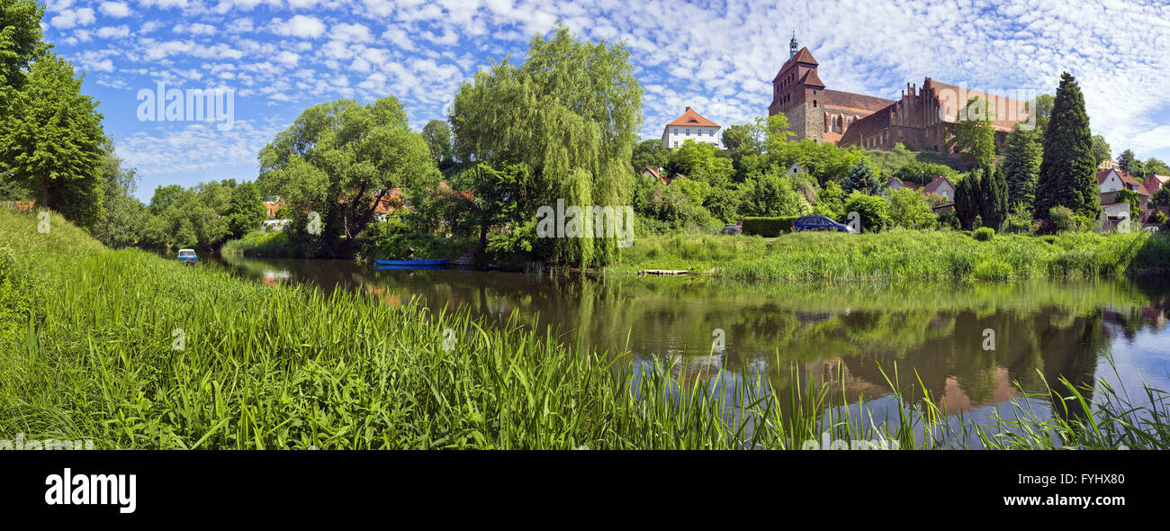 Moat in front of Havelberg Cathedral, Havelberg - Stock Image