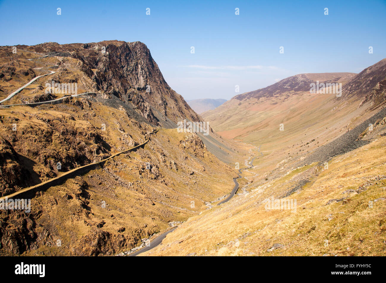 The B5289 road runs through Honister Pass between the high ...