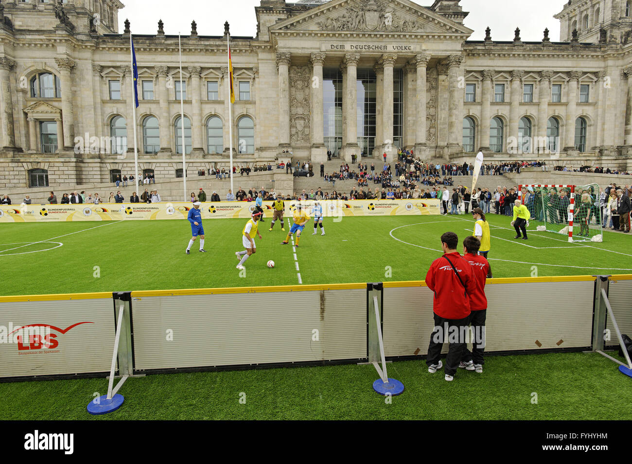 Football match in front of the Reichstag building - Stock Image