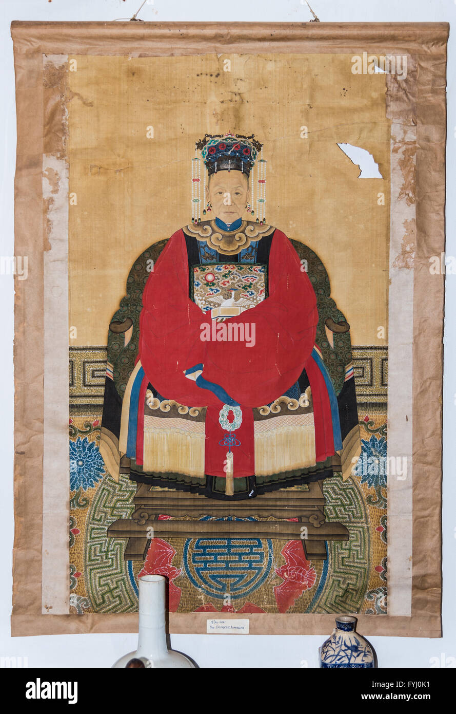 Silk scroll portrait of Empress Dowager Cixi (1835 - 1908 A.D.) of Qing Dynasty, China. - Stock Image