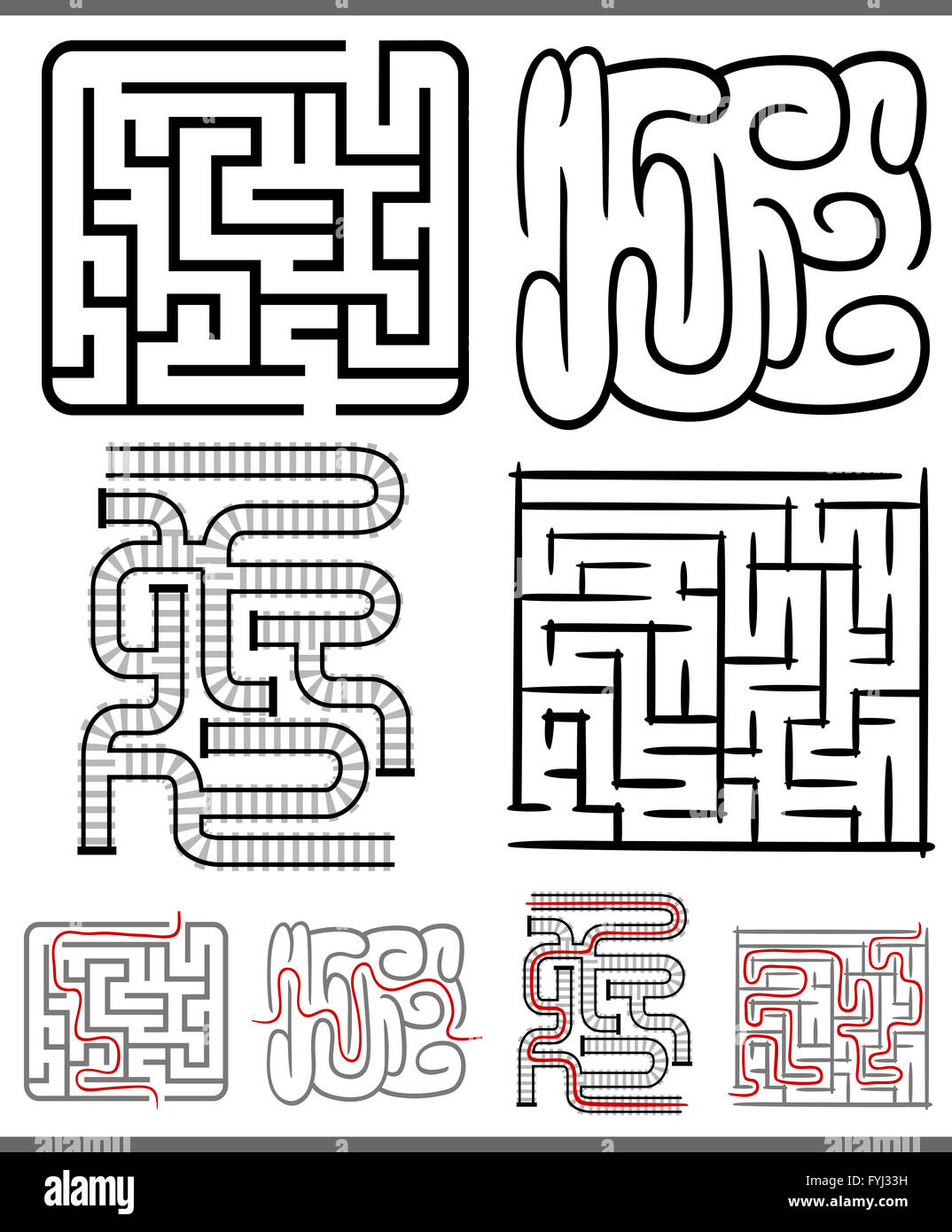 mazes or labyrinths diagrams set - Stock Image