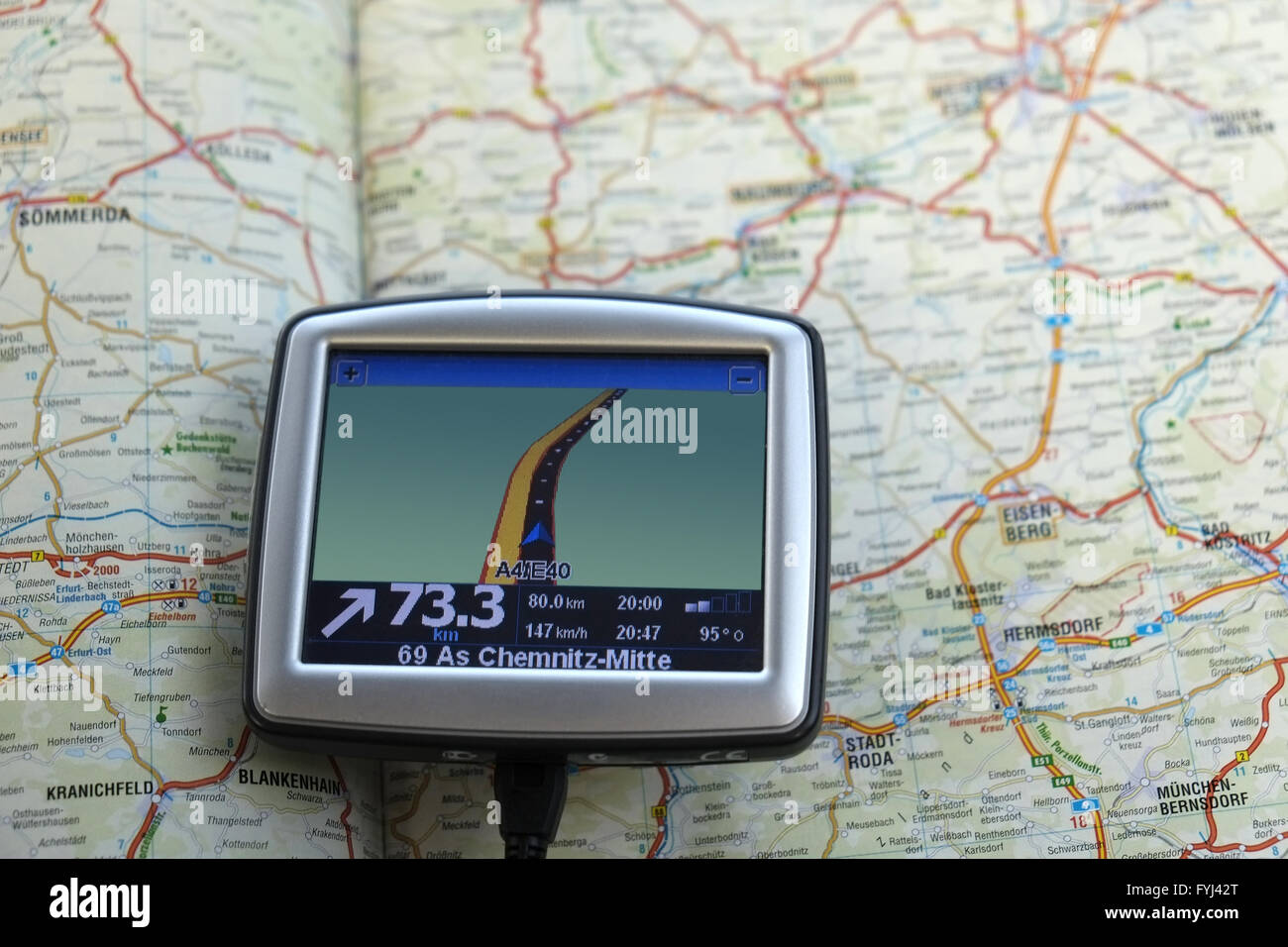 Road atlas and Navigation system - Stock Image