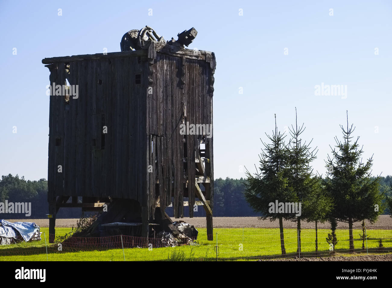 Remains of a post mill near Niendorf, Brandenburg - Stock Image