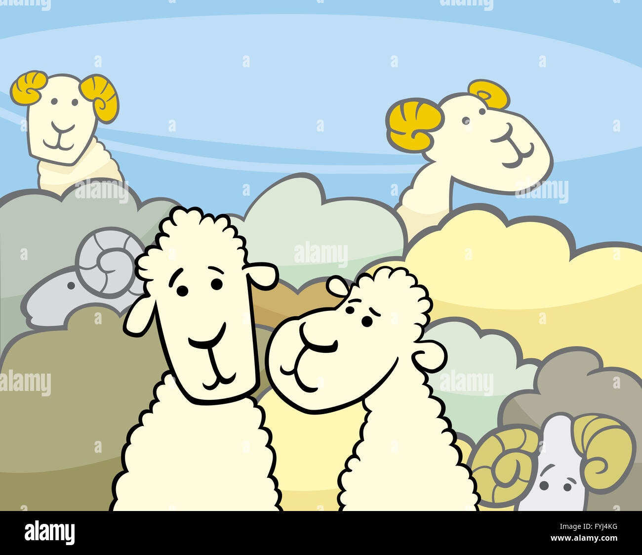 flock of sheep cartoon illustration Stock Photo