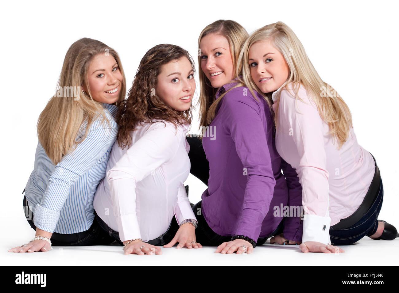 Happy girly group - Stock Image