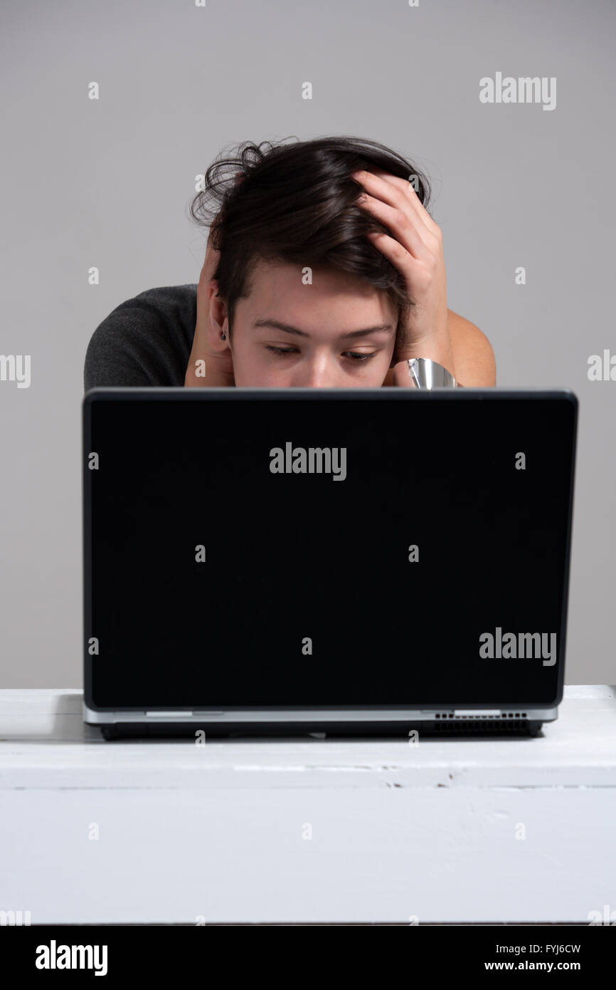 Conversations with my labtop environment - Stock Image
