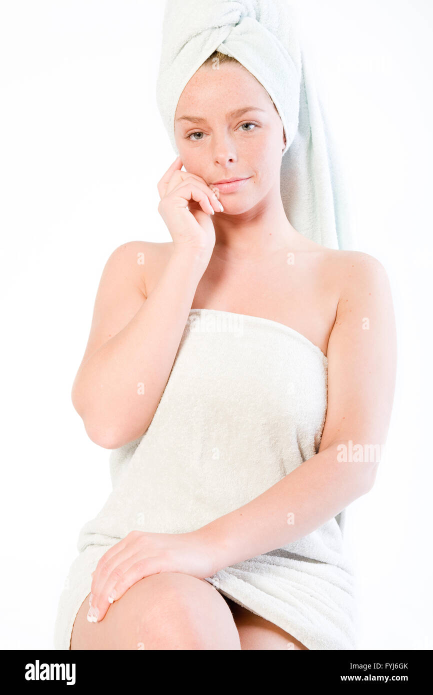Wellness girl series paying attention - Stock Image