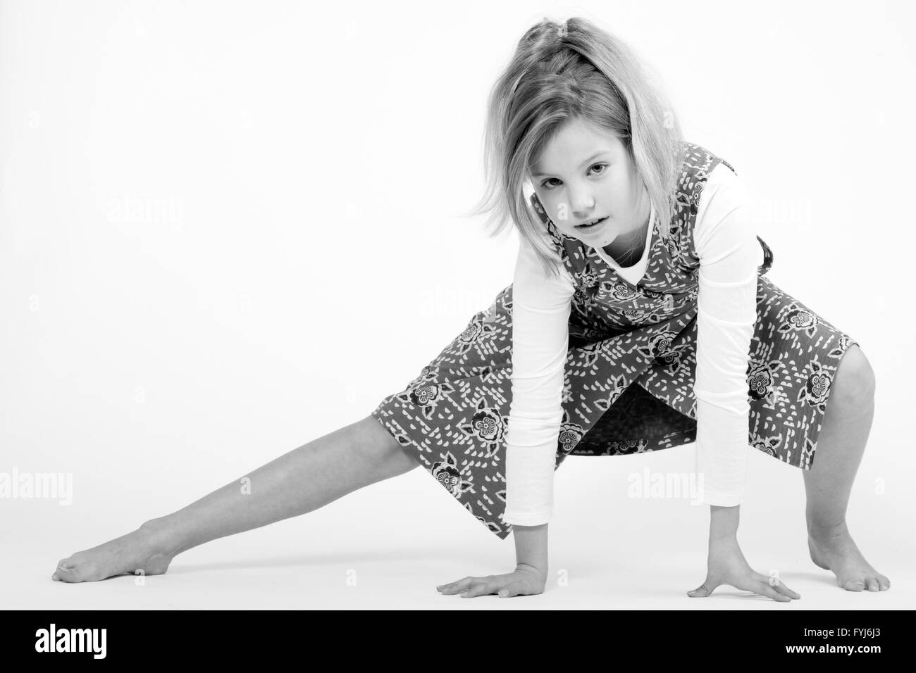 Blond child in black and white - Stock Image