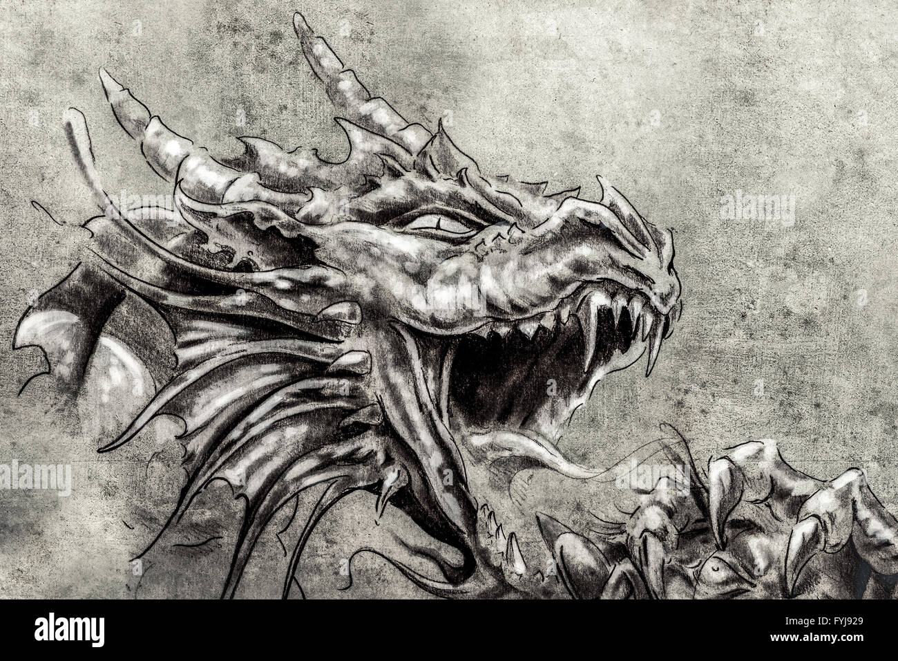 Tattoo art, sketch of a anger medieval dragon - Stock Image