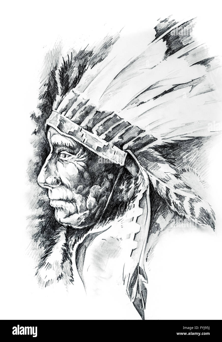 Sketch of tattoo art, native american indian head, chief, isolated - Stock Image
