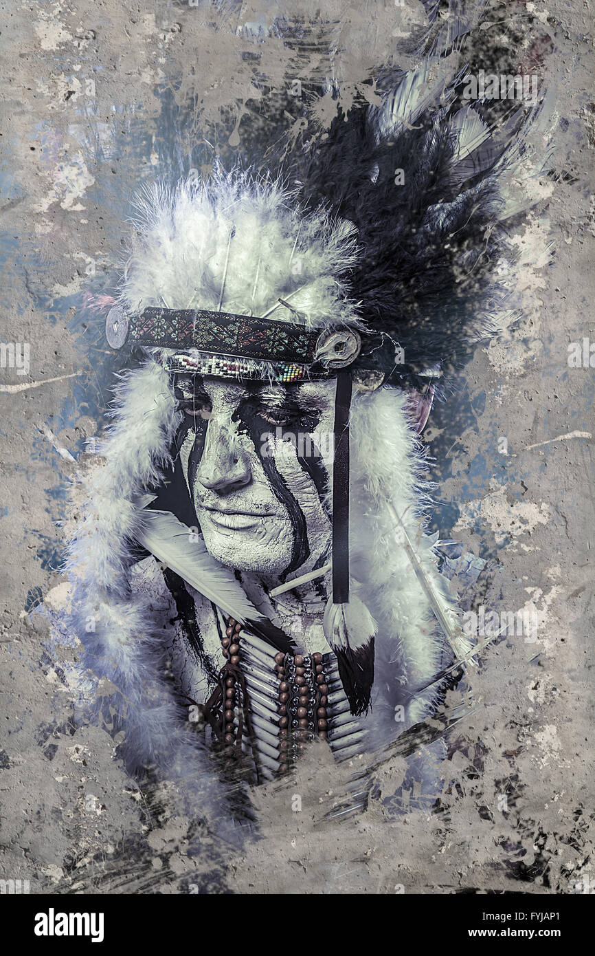 Fineart, American Indian warrior, chief of the tribe. man with feather headdress and tomahawk - Stock Image