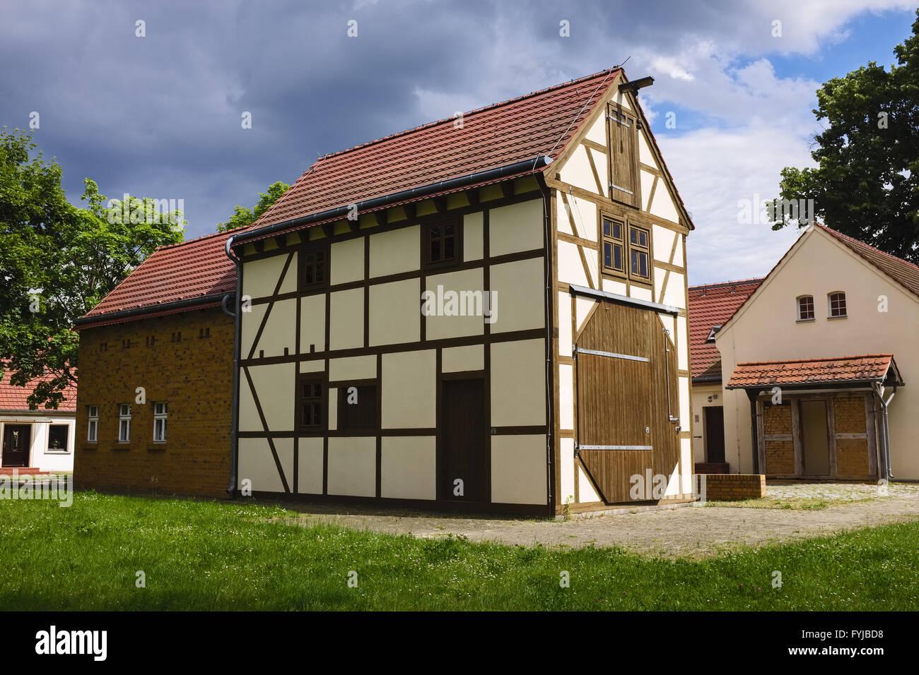 Windmill in a barn, Saalow, Brandenburg, Germany - Stock Image