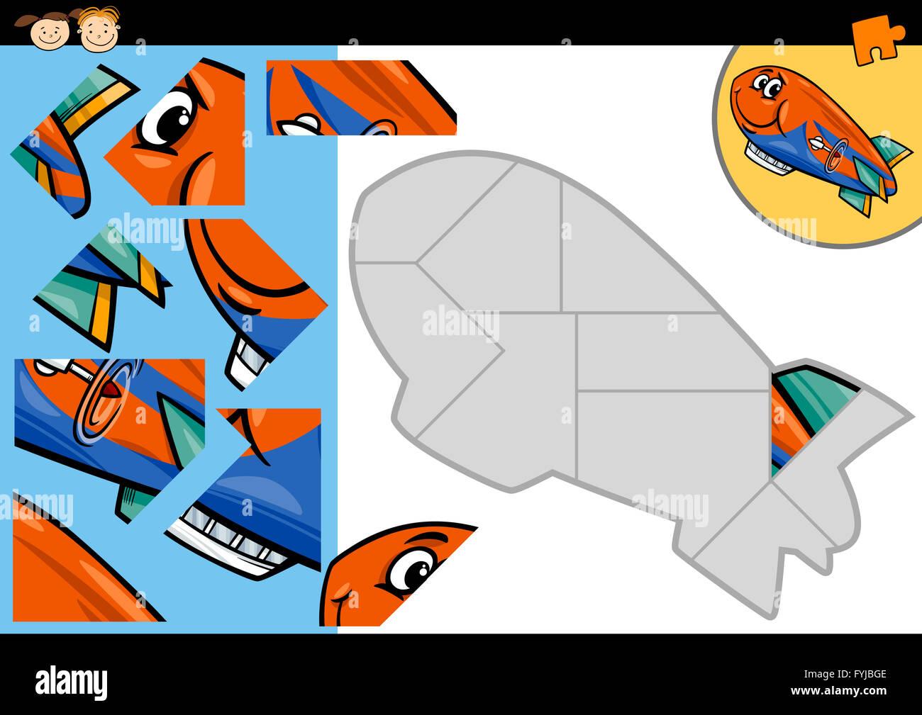 cartoon blimp jigsaw puzzle game - Stock Image