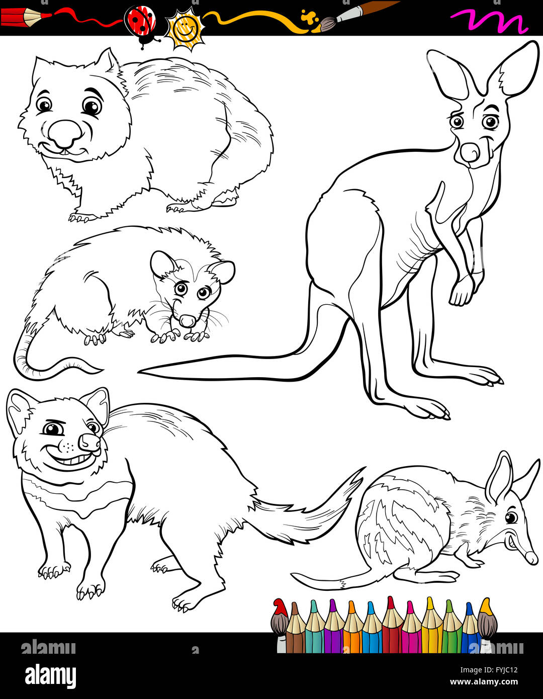 Animals Set Cartoon Coloring Book Stock Photo 103052126 Alamy