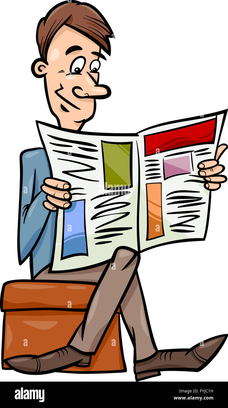 man with newspaper cartoon illustration - Stock Image