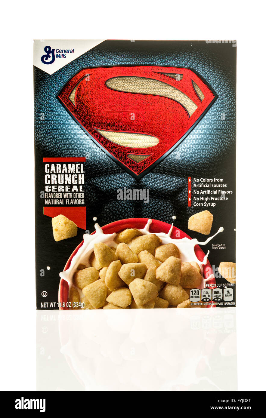 Winneconne, WI - 26 April 2016: Box of Superman cereal on an isolated background - Stock Image