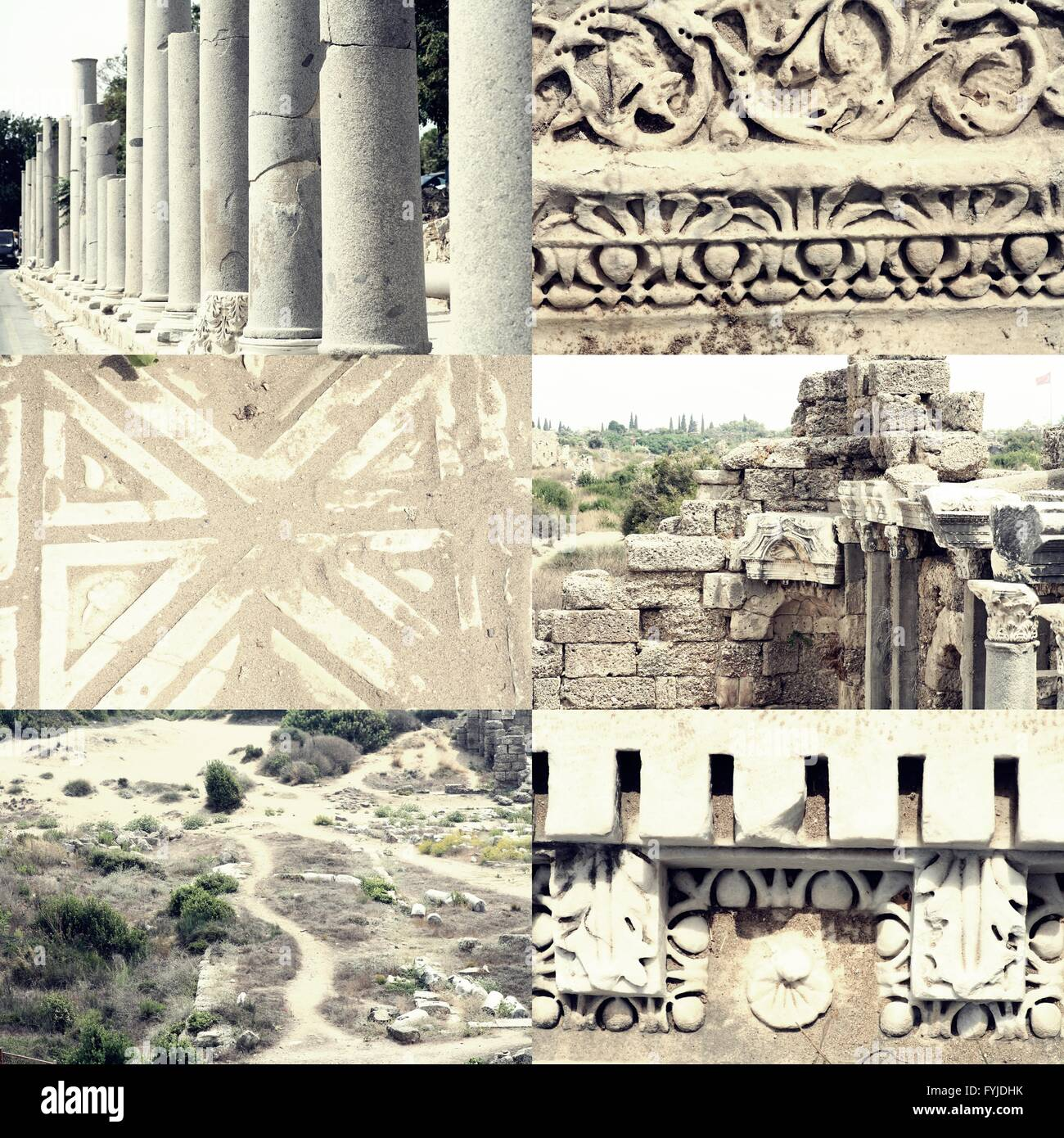 Pillars, ornaments and ruined buildings set of images of ancient Roman architecture in Side, Turkey Stock Photo