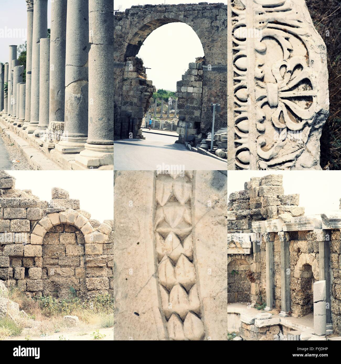 Ancient roman architecture - ruined buildings with pillars and weathered  marble ornament, famous place Side (Turkey) Stock Photo