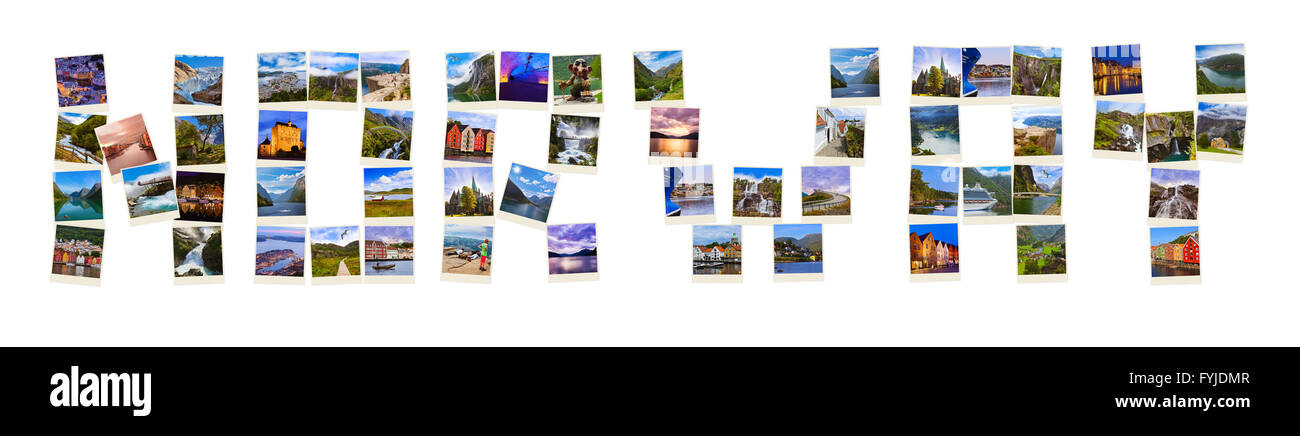 Word Norway made of travel shots (my photos) - Stock Image
