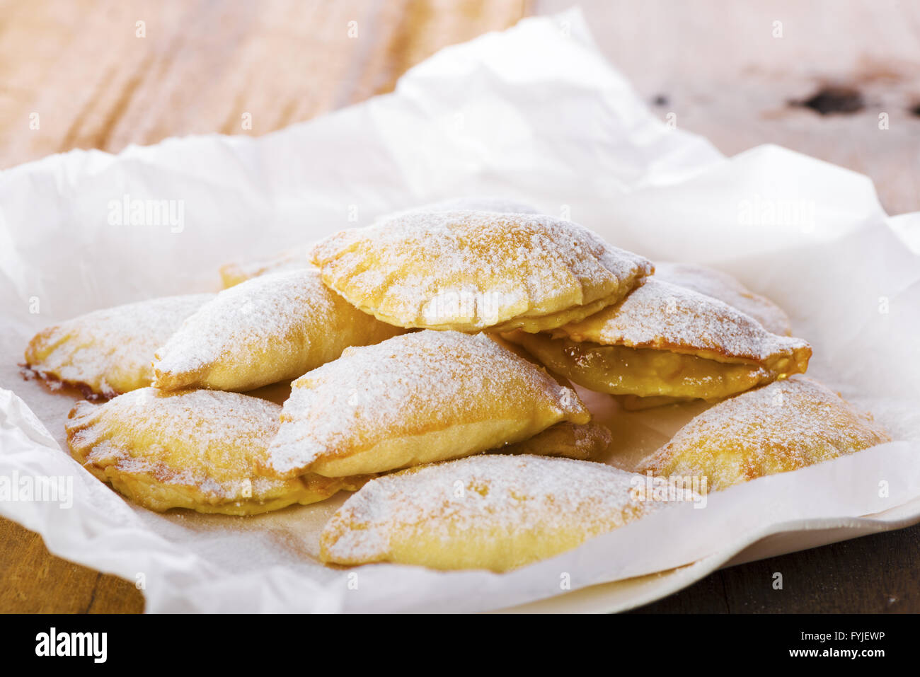 Delicious Cookies on Plate with White Paper Stock Photo