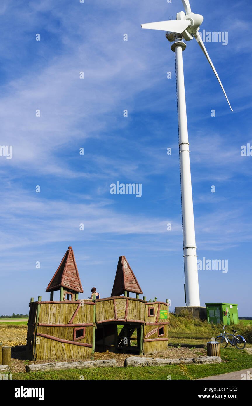 Resting place and wind turbine at Flaeming Skate - Stock Image