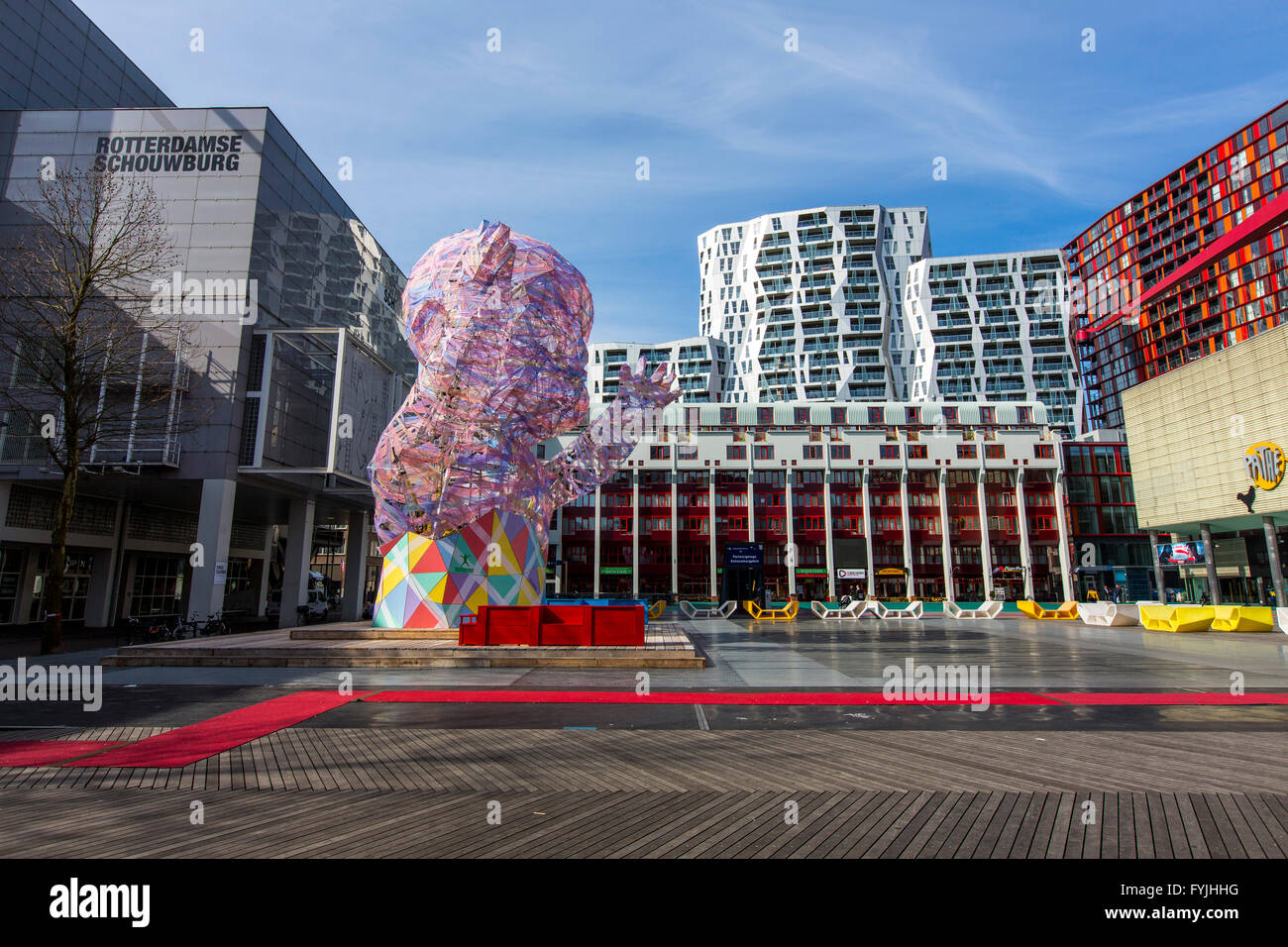 Downtown, Schouwburgplein, square in the city center, with various cultural institutions and art installations in - Stock Image