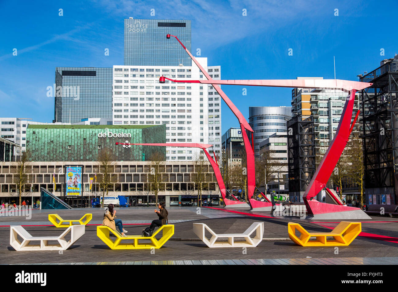 Downtown, Schouwburgplein, square in the city center, with various cultural institutions and art installations, - Stock Image