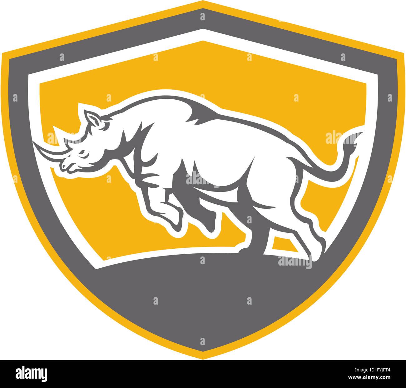 Rhinoceros Charging Side Shield Retro - Stock Image