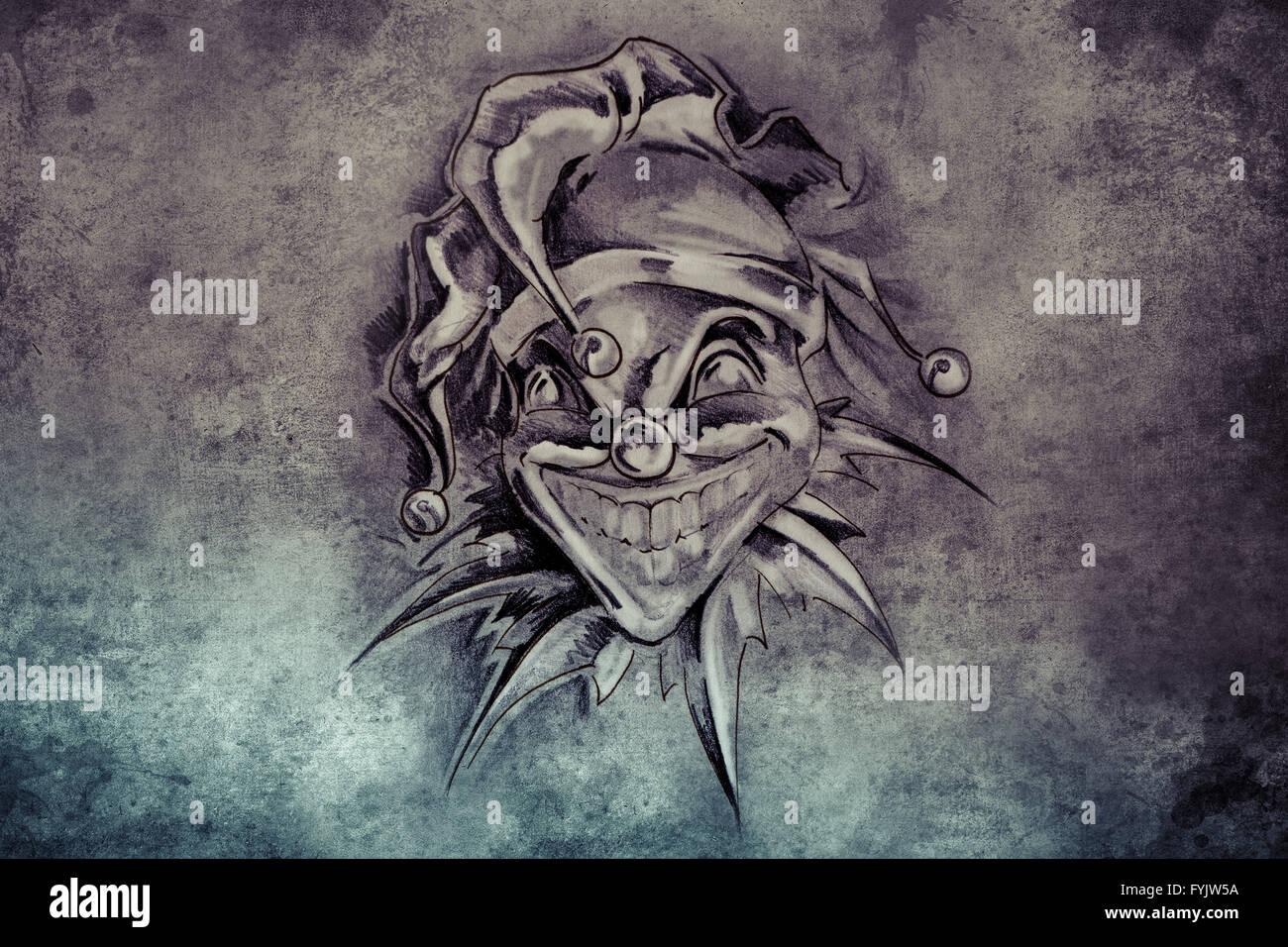 Tattoo Joker Illustration Handmade Draw Over Vintage Paper Stock