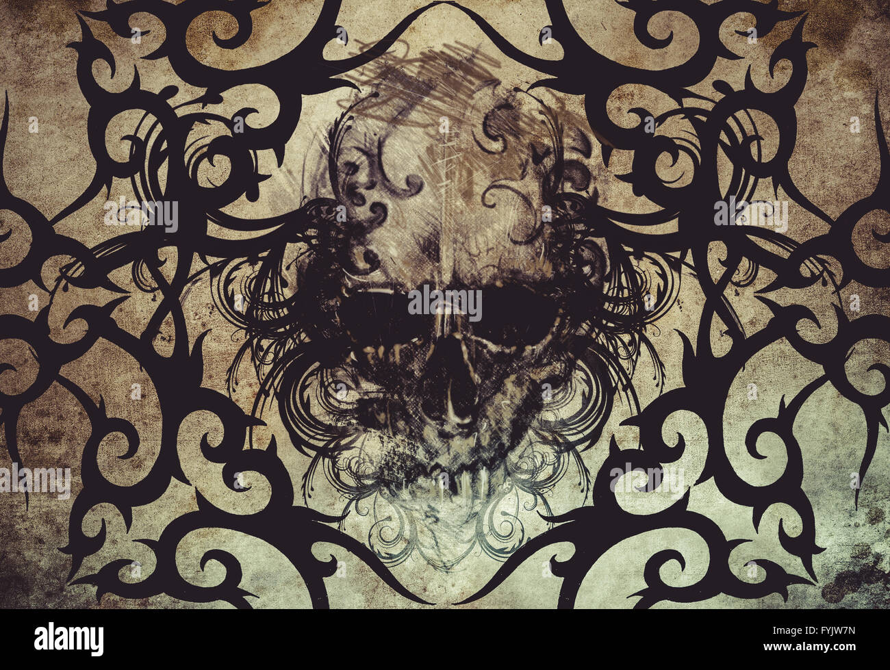 Skull. Tattoo design over grey background. textured backdrop. Artistic image - Stock Image