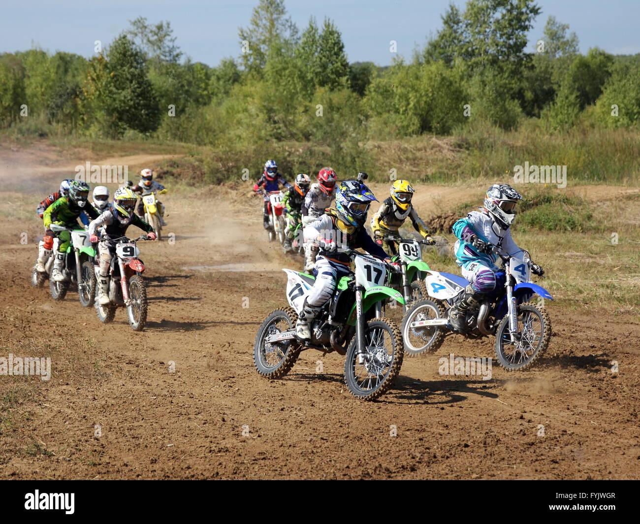 ARSENYEV, RUSSIA - AUG 30: Rider participates in the  round of t - Stock Image