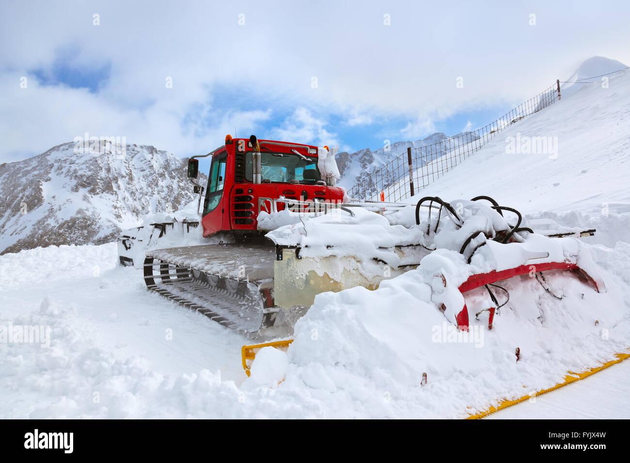 Machine for skiing slope preparations at Kaprun Austria - Stock Image
