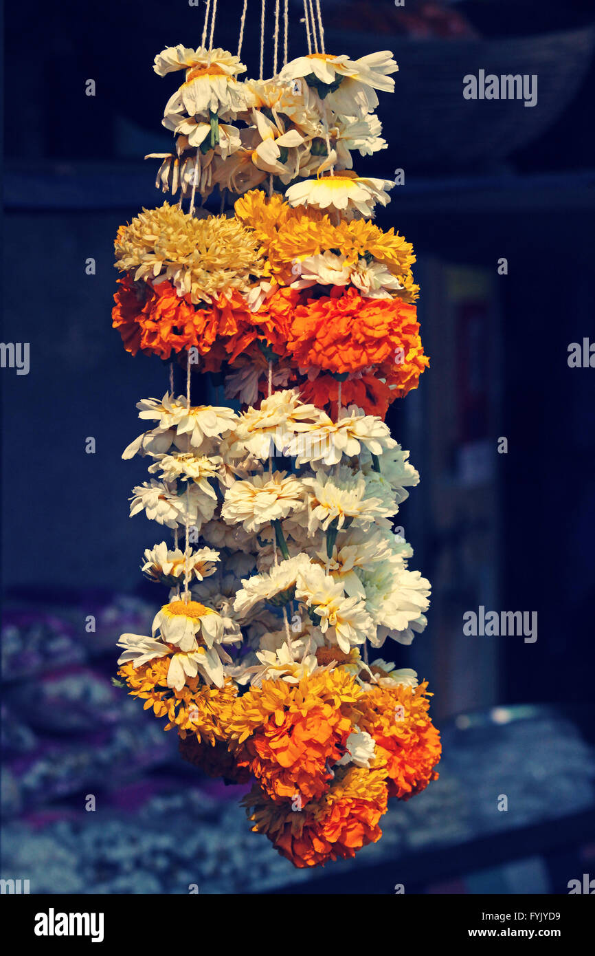 Flower garlands for sale - Stock Image