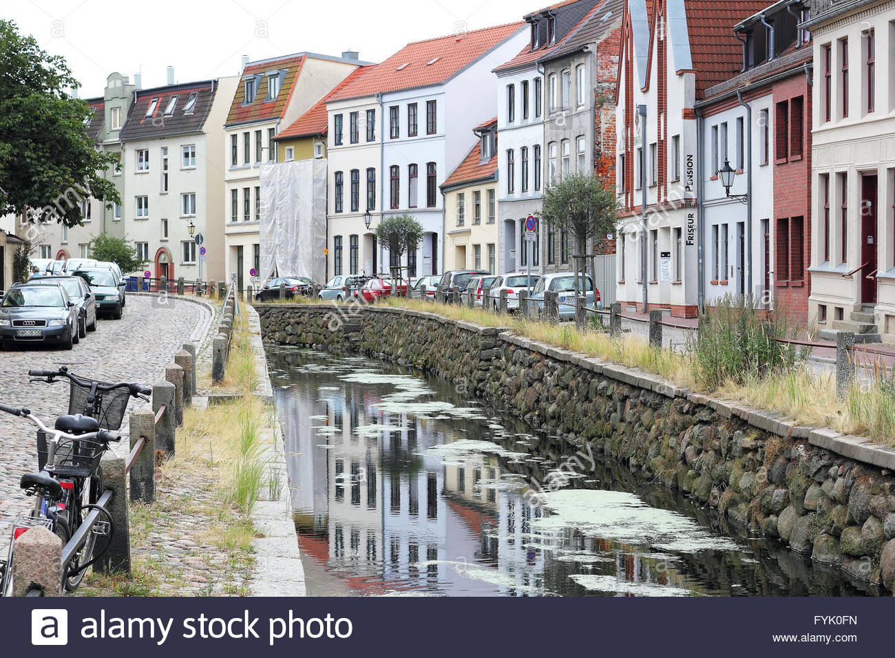 City moat in the old town of Wismar - Stock Image