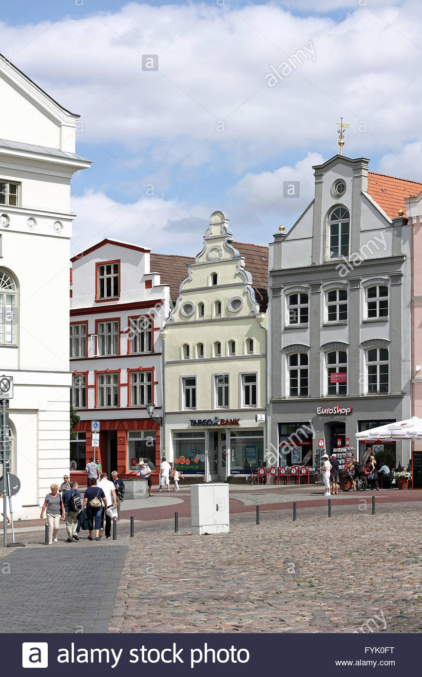 Patrician houses at market place of Wismar - Stock Image