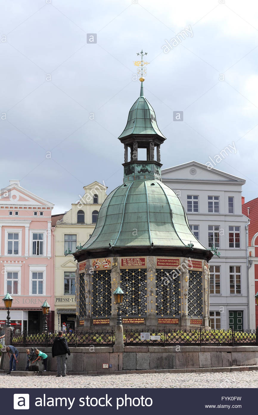The waterworks at market place of Wismar - Stock Image